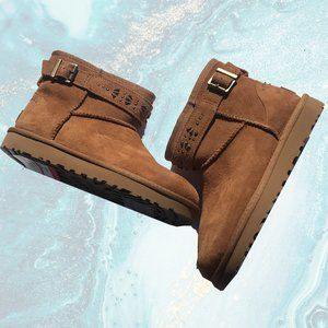 Ugg Jadine Brown Short Boots with Studded Strap